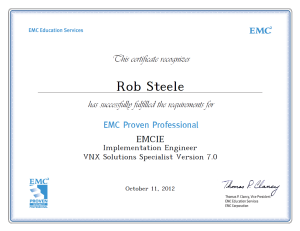 EMCIE VNX Solutions Specialist Implementation Engineer Certification