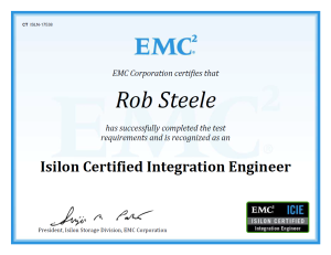 ICIE Rob Steele Isilon Certified Integration Engineer