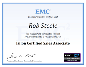 Isilon Certified Sales Associate - Certificate