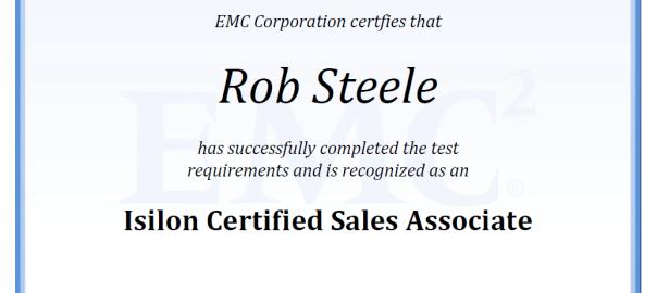 Isilon Certified Sales Associate - Certificate