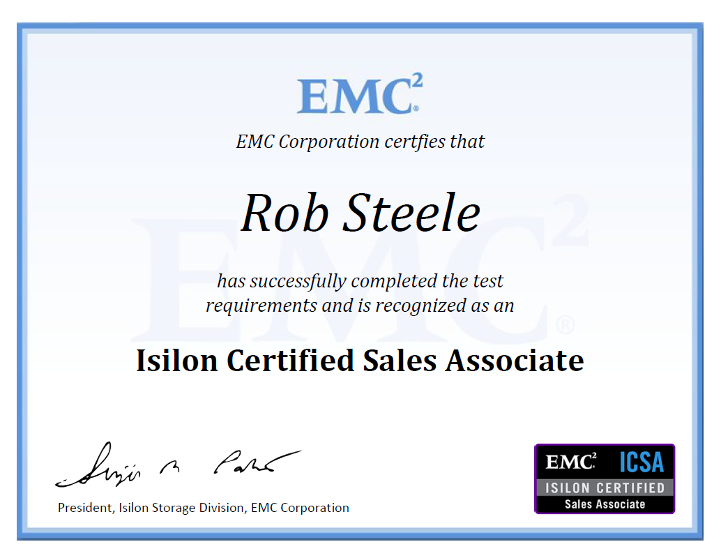 Certifications Rob Steele