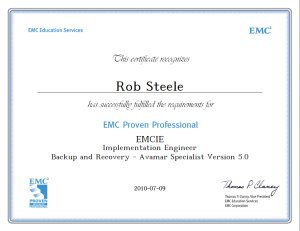 EMCIE Avamar Implementation Engineer