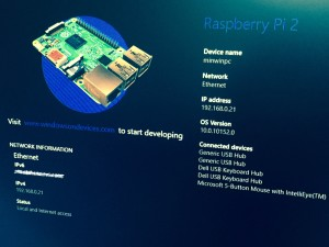 Windows10 IoT Core Raspberry Pi 2 Screenshot