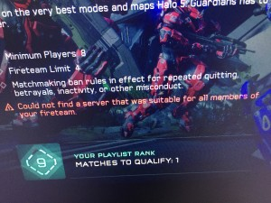 Could not find a server that was suitable for all members of your fireteam. Halo 5